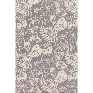 Hand-hooked Charlotte Grey/ Ivory Rug (2'3 x 3'9)