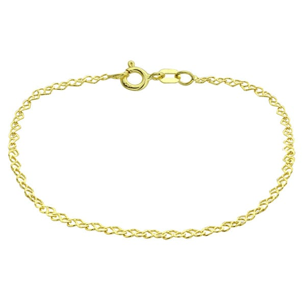 Mondevio 14k Yellow Gold 2mm Heart Link Chain Necklace