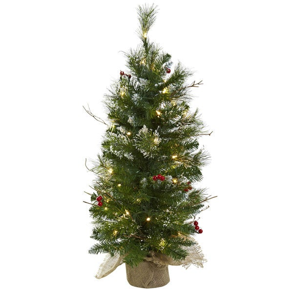 Christmas Tree with Clear Lights, Berries and Burlap Bag