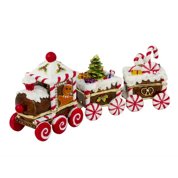 Candy Cane Train Trinket Box