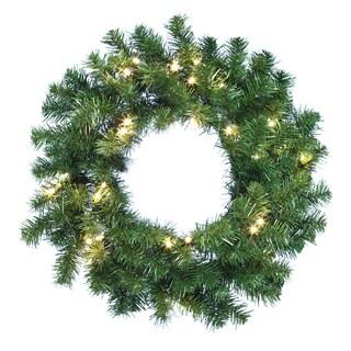 Kurt Adler 24-inch Battery-Operated Douglas Fir Wreath with 30 Lights