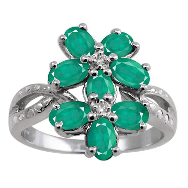 Silver Emerald Gemstone and White Diamond Accent Five Stone Ring