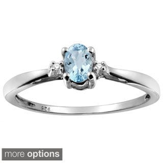 Silver Aquamarine Gemstone and White Diamond Accent Solitaire Ring