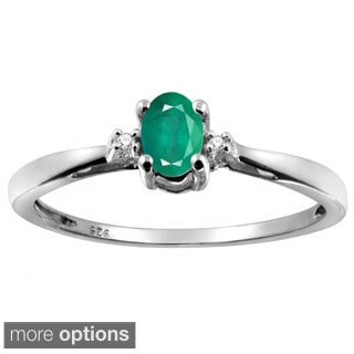 Silver Emerald Gemstone and White Diamond Accent Solitaire Ring
