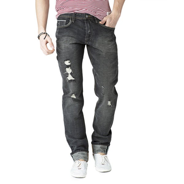 Simple Living High Thinking Jeans Men's 'Ghetto' Black Ripped Denim Jeans