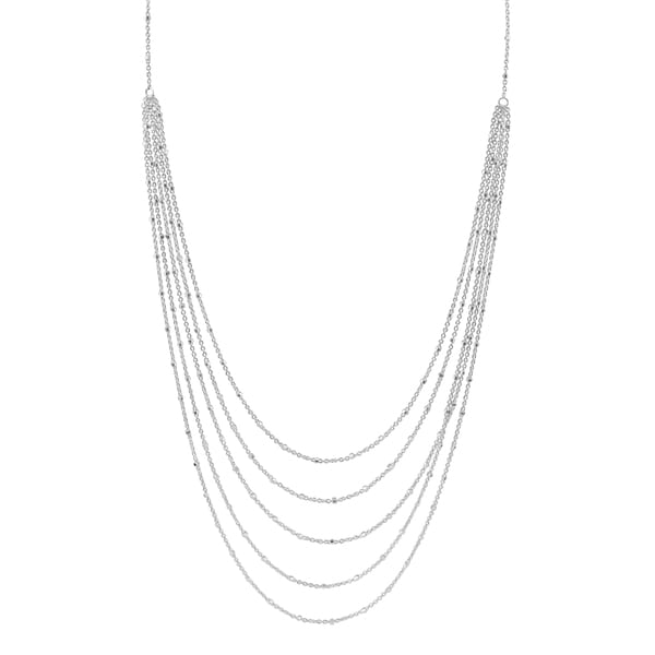 Fremada Sterling Silver Multi-strand Saturn Necklace (17 inches)