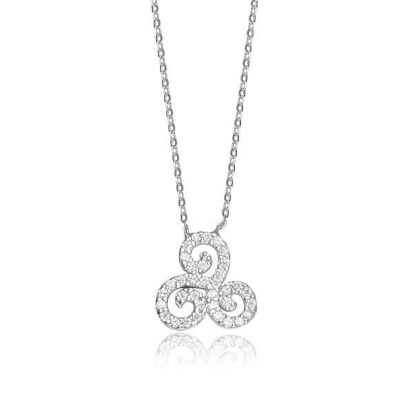 Collette Z Sterling Silver Cubic Zirconia Swirl Design Necklace