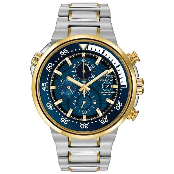 Citizen Men's CA0444-50L Eco-Drive Chronograph Blue Dial Two-tone Strap Watch
