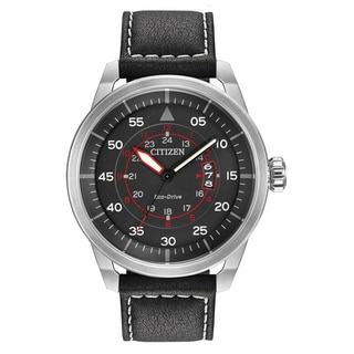 Citizen Men's AW1361-01E Eco-Drive Brown Leather Strap Watch