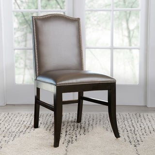 ABBYSON LIVING Stacy Grey Leather Nailhead Trim Dining Chair