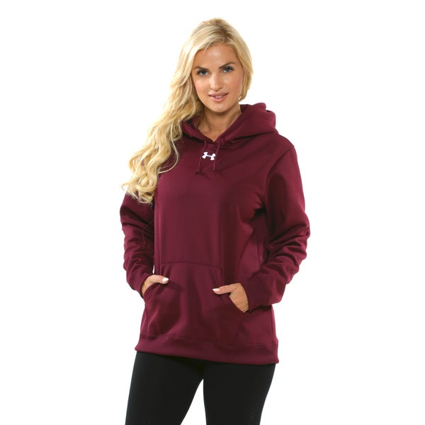 Under Armour Women's Maroon and White Fleece Hoodie