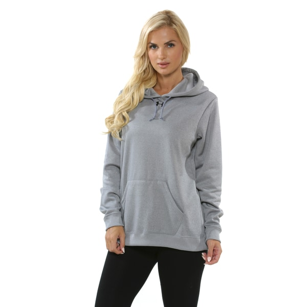 Under Armour Women's Grey and Black Fleece Hoodie