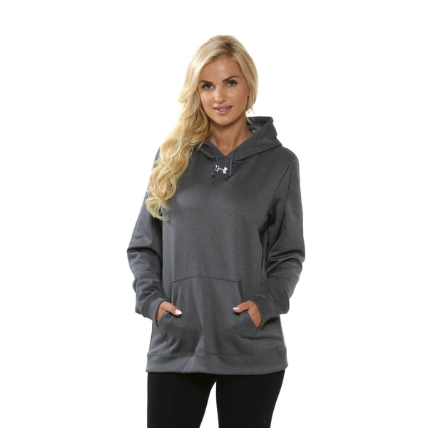 Under Armour Women's Carbon Heather and White Fleece Hoodie