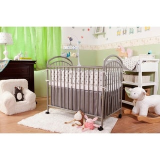 Classic Arched Compact White Metal Non-folding Crib