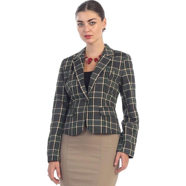 Hadari Women's Vintage Green Plaid Blazer