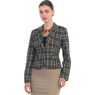 Hadari Women's Vintage Green Plaid Blazer