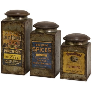 Addie Vintage Label Wood And Metal Canisters (Set of 3)