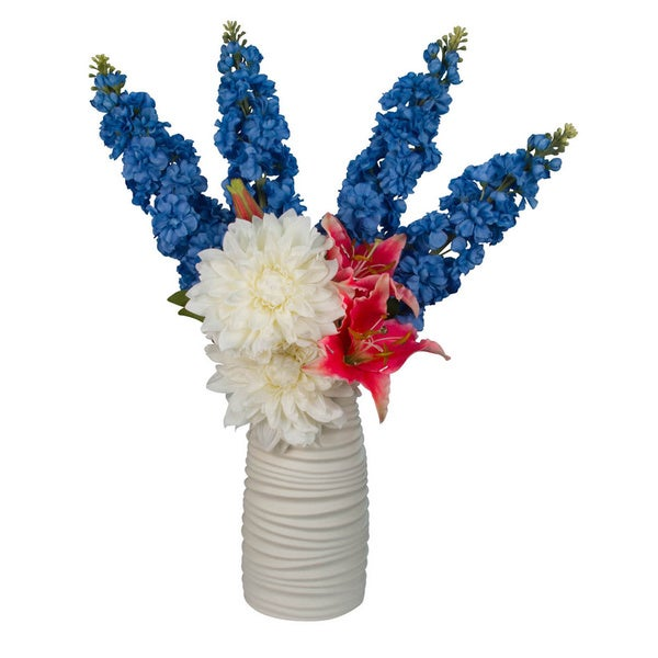 Cayliegh Silk Blue Delphinium/ Rubrum/ Tiger Lilly/ White Dahlia Floral Arrangement in White Vase