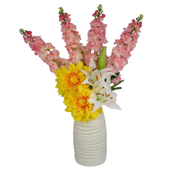 Cayliegh Pink Delphinium, White Tiger Lillies and Yellow Dahlias Silk Floral Arrangement in White Vase