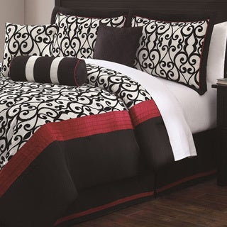 Scarlett 7-piece Flocking Comforter Set