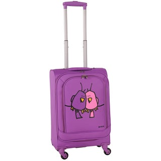 Ed Heck Purple Big Love Birds 20-inch Carry-on Spinner Upright Suitcase