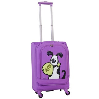 Ed Heck Purple Money Doggie 20-inch Carry-on Spinner Upright Suitcase