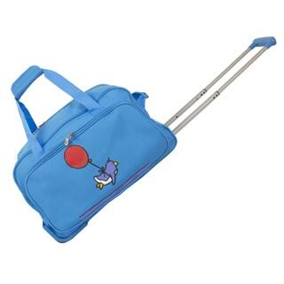Ed Heck Sky Blue Flying Penguin 20-inch Rolling Duffel Bag