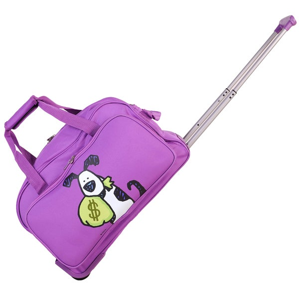 Ed Heck Purple Money Doggie 20-inch Rolling Duffel Bag