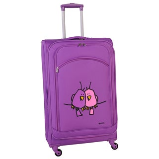 Ed Heck Purple Big Love Birds 24-inch Spinner Upright Suitcase