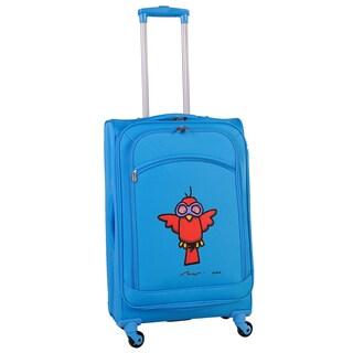 Ed Heck Sky Blue Aviator 24-inch Spinner Upright Suitcase