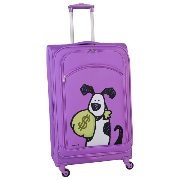 Ed Heck Purple Money Doggie 28-inch Spinner Upright Suitcase