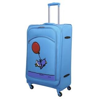 Ed Heck Sky Blue Flying Penguin 28-inch Spinner Upright Suitcase