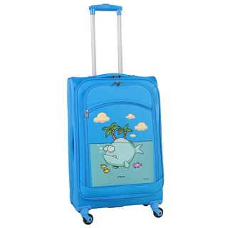 Ed Heck Sky Blue Big Fish 28-inch Spinner Upright Suitcase