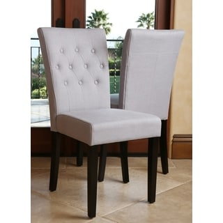 ABBYSON LIVING Chloe Tufted Linen Steel Blue Dining Chair (Set of 2)