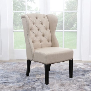 ABBYSON LIVING Sierra Tufted Cream Linen Wingback Dining Chair