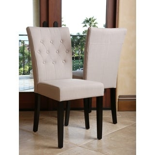 ABBYSON LIVING Chloe Tufted Linen Beige Dining Chair (Set of 2)