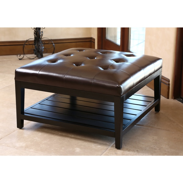Abbyson living manchester dark brown leather square coffee table ottoman 16735262 overstock Dark brown leather ottoman coffee table