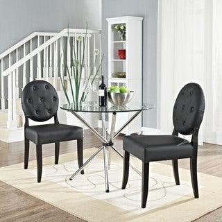 Black Button Dining Side Chair (Set of 2)