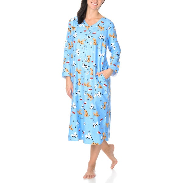 La Cera Women's Dog Print Pullover Night Gown