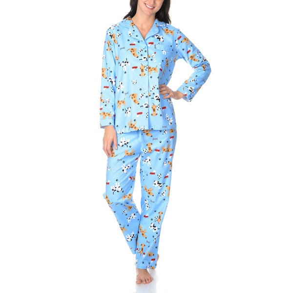 La Cera Women's Dog Print Pajama Set