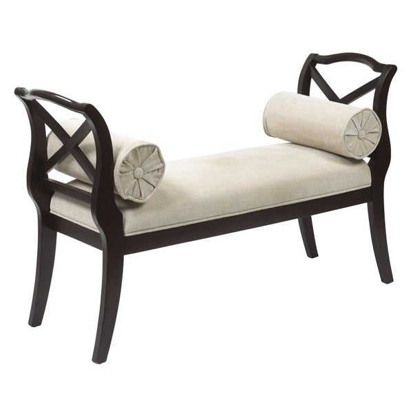 Espresso Yorkville Bench with Bolster Pillows