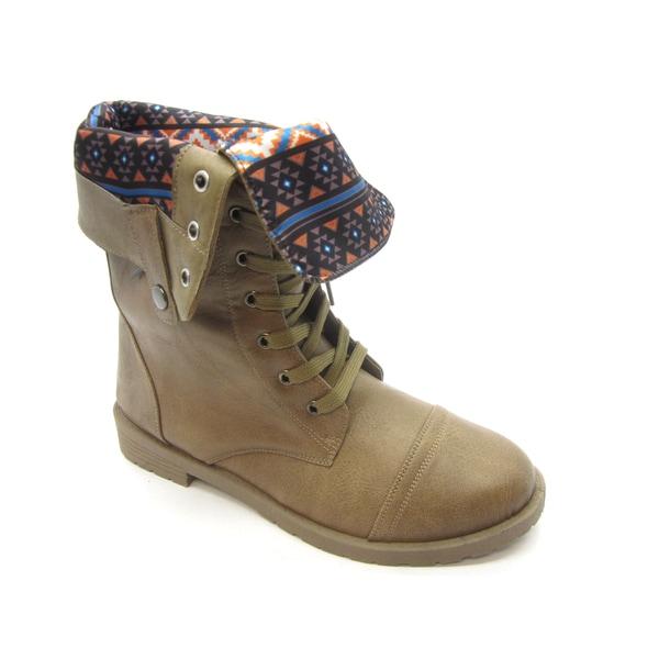 Blue Women's 'Durq' Fold-down Collar Combat Boots