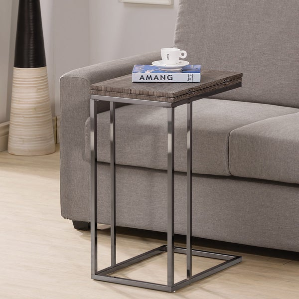 Weathered grey finish expandable side end table for Side table for sectional sofa