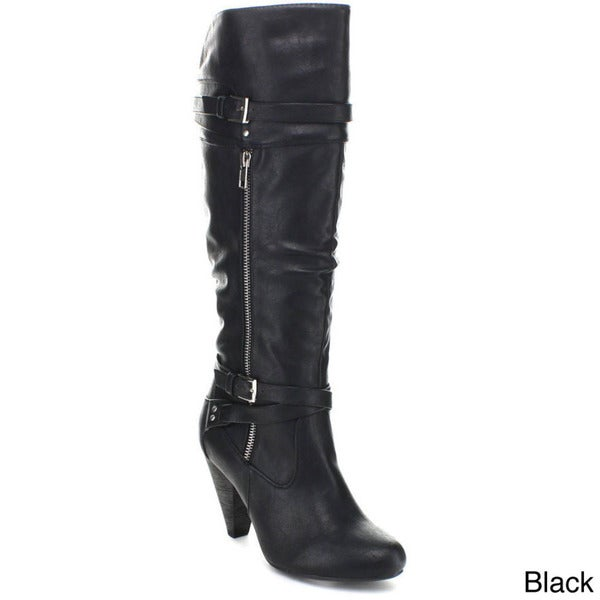 Wild Diva 'Merton-29' Women's Slouchy Wrapped Belt Knee-high Riding Boots