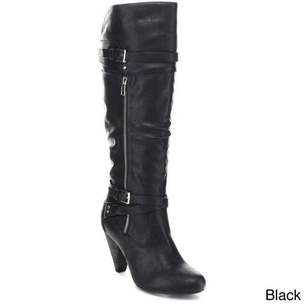 Wild Diva 'Merton-29' Women's Slouchy Wrapped Belt Knee-high Riding Boots