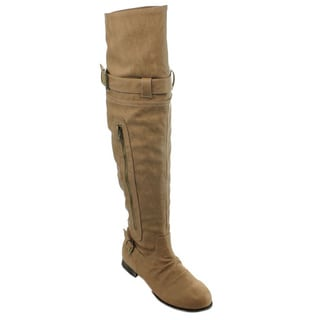 Wild Diva Women's 'Tosca-49' Tan Slouchy Over-the-Knee Boots