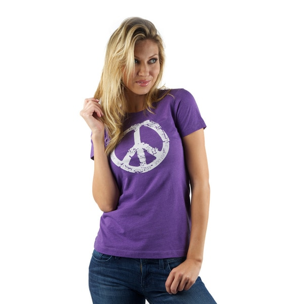 Just Live Women's Peace Sign Cotton/ Polyester Tee
