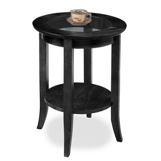 Solid Oak Slate Black Round Side Table