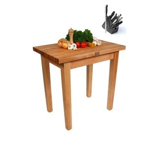 John Boos Country Maple Work 36 x 24 Table with Casters and Henckels 13-piece Knife Block Set