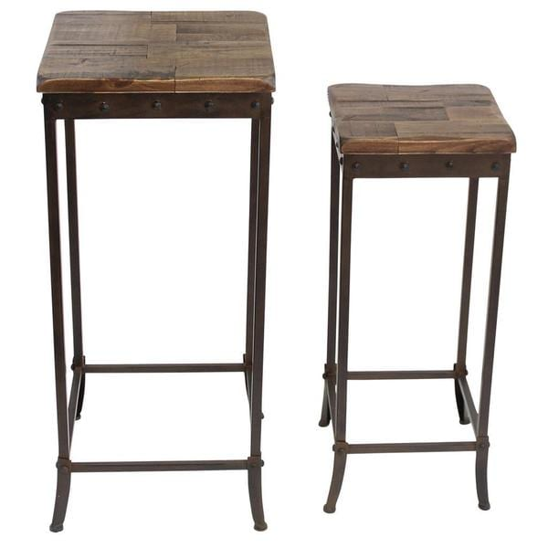 Trenton Distressed Pine and Metal Accent Tables (Set of 2)